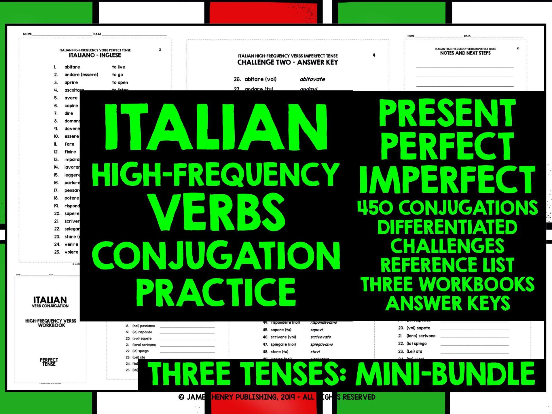 ITALIAN VERBS CONJUGATION PRACTICE MINI-BUNDLE #1