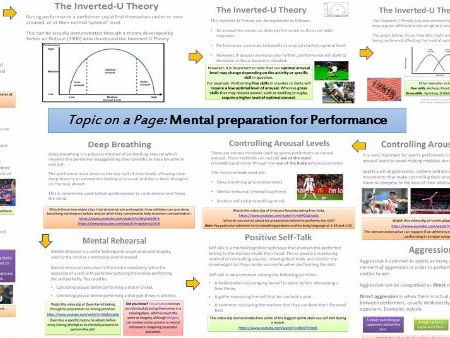 AQA GCSE PE (9-1) Sport Psychology (3.2.1) Mental Preparation for Performance - Topic on a Page