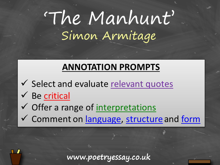 Simon Armitage – 'The Manhunt' – Annotation / Planning Table / Questions / Booklet