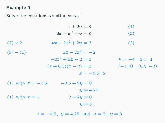 Lesson on Simultaneous Equations where one equation is linear and one quadratic