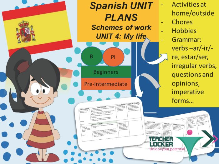 Spanish Unit plans for beginners / Pre-intermediate - 6 to 7 weeks of teaching - Unit 4 Mi vida