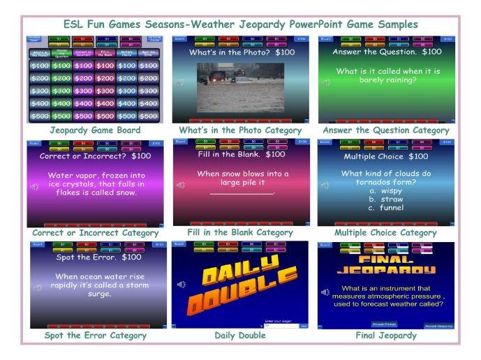 Seasons-Weather Jeopardy PowerPoint Game
