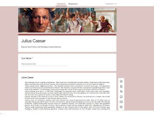 Google Classroom Forms Quiz Reading Comprehension - Julius Caesar Non-Fiction