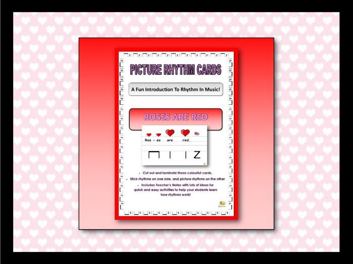 "Picture Rhythm Cards - Valentine's Day- ""ROSES ARE RED"""