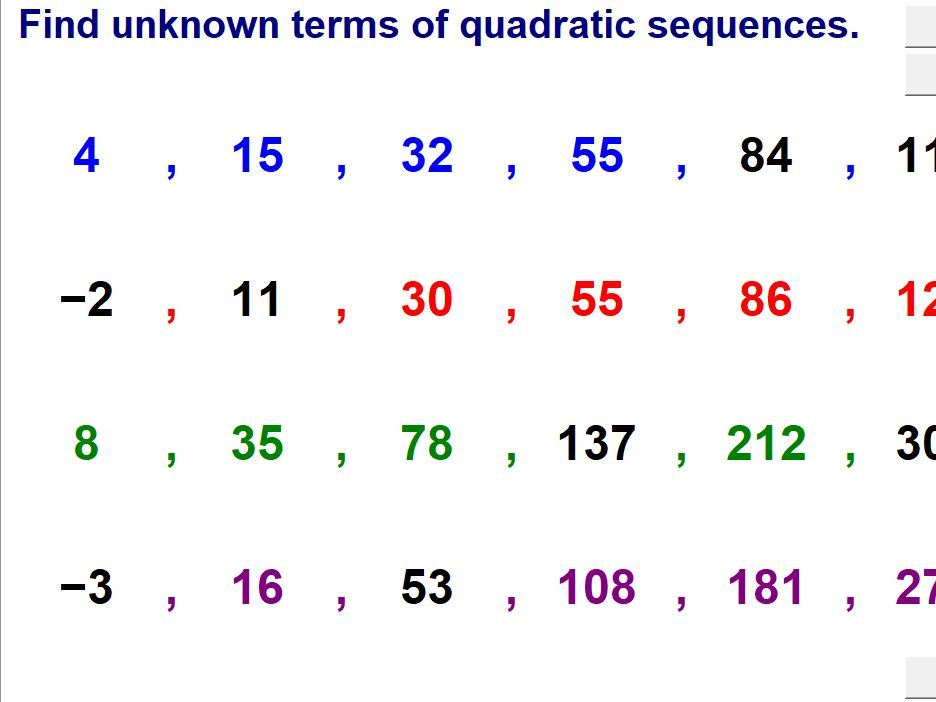 Unknown Terms Of Sequences