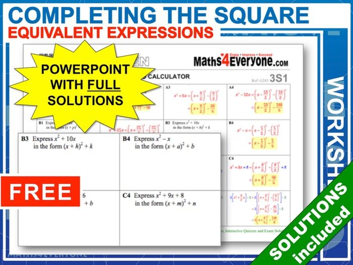 Completing the Square (Worksheets with Answers)