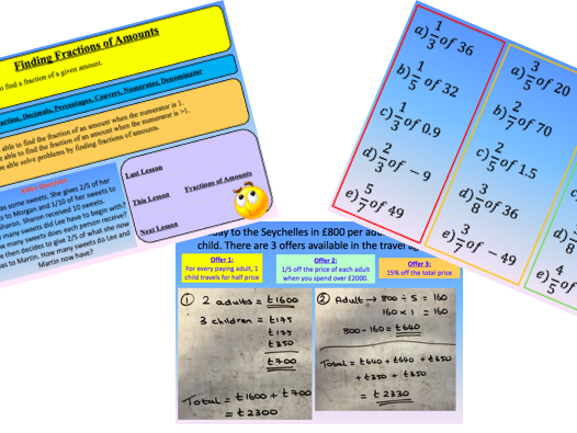 Finding Fractions of an Amount - New Curriculum