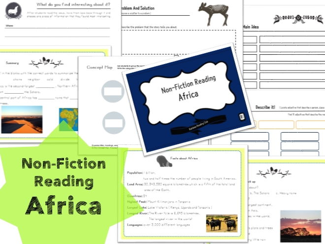Non-Fiction Reading Worksheet for KS1,2&ESL,EFL class - Africa 3A