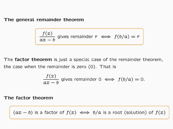 Lesson on Remainder Theorem and Factor Theorem