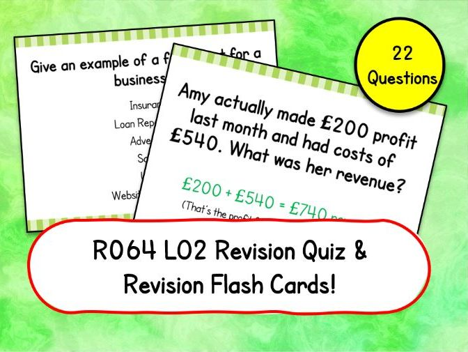 R064 LO2 Revision Quiz & Flashcards Cambridge National in Enterprise & Marketing