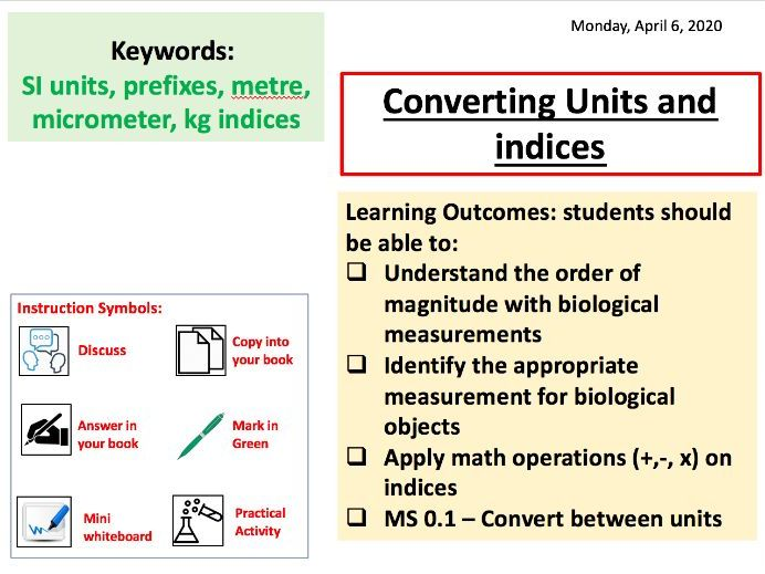 Maths Skills Biology 1 - Units and Indices