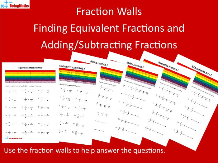 Fraction Wall - Finding Equivalent Fractions and Adding/Subtracting Fractions