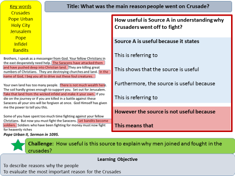 Medieval Period: What was the main reason people went on Crusades? (Lesson 2)