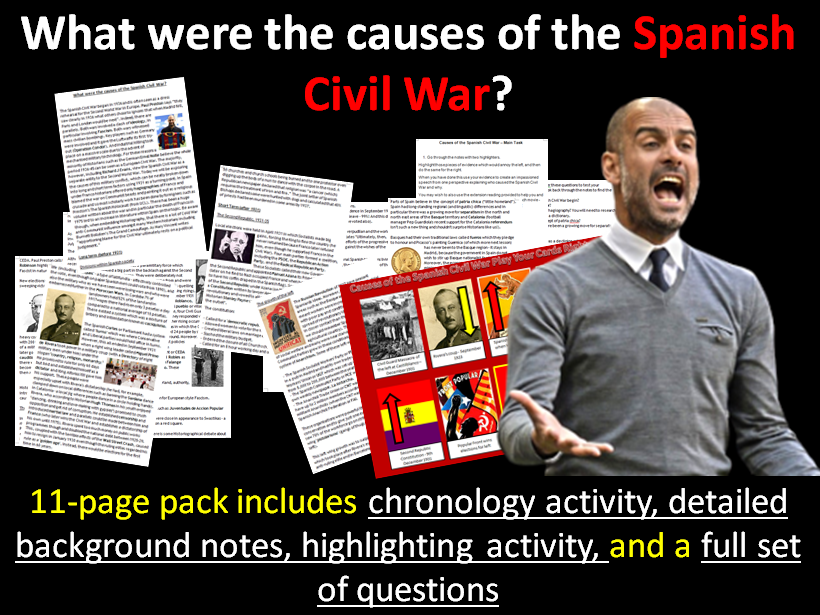 Causes of the Spanish Civil War - 11-page full lesson (notes, worksheet, play your cards right game)