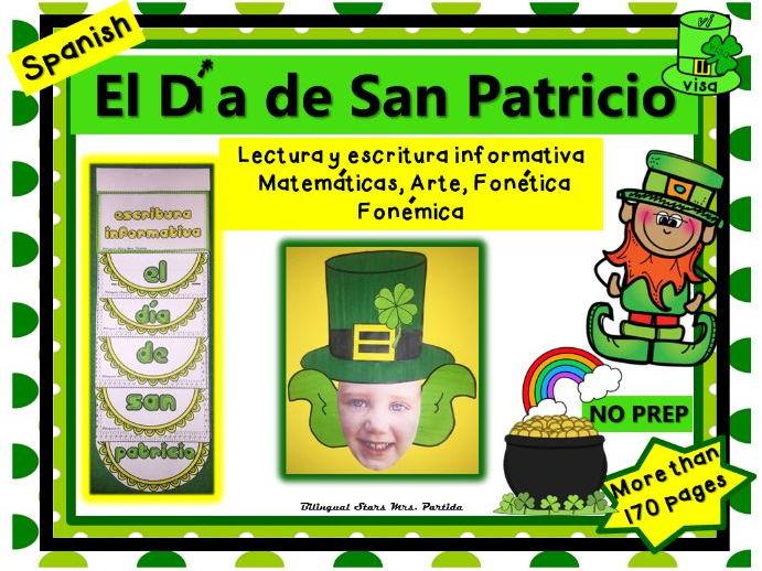 Dia de San Patricio lectura escritura Matematicas Craftivity St Patrick Partida