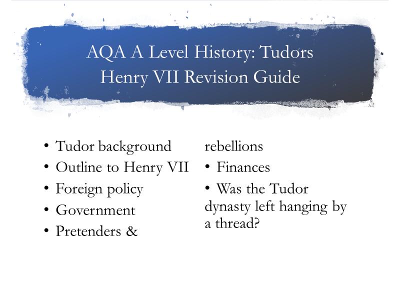 AQA A Level Tudors Guide Henry VII