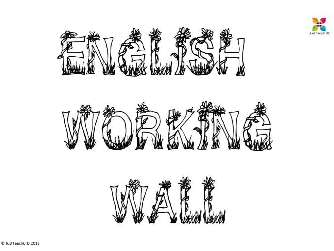 English wall display lettering