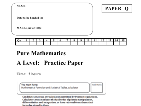 Edexcel A level Maths Past Paper Questions and Markschemes for NEW