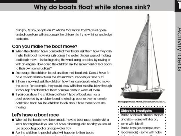 EYFS: Understanding the World, Why Do Boats Float and Stones Sink? Unit of Work