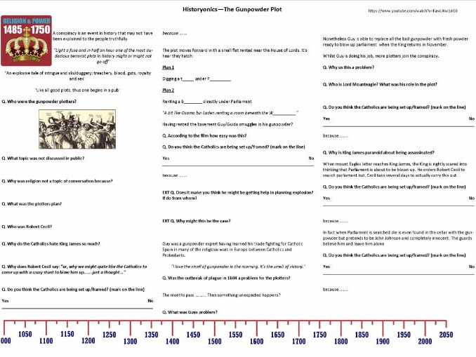 Historyonics - Gunpowder Plot - Worksheet to support the BBC TV programme