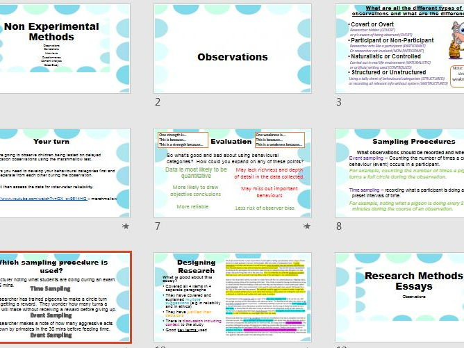 Observations - A2 Recap Revision - AQA Psychology Research Methods
