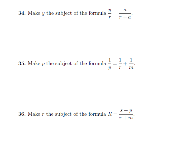 Changing the subject of a formula worksheet with detailed solutions (harder questions)
