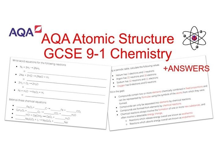 GCSE 9-1 Chemistry AQA | Atomic Structure Worksheet + Answers