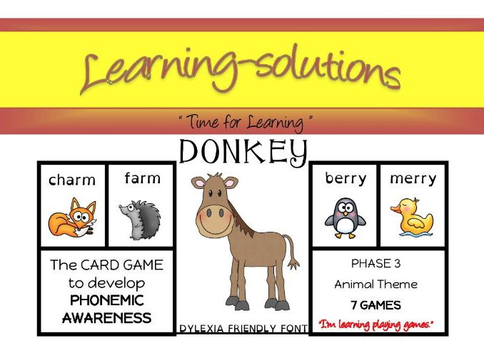 DONKEY Phonics CARD GAME - Phase 3 - Long & Short vowels - Magic e and more - 7 games