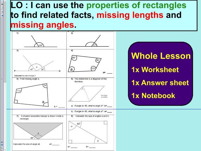 Missing Lengths Worksheet Rectangles By Kyliew52 Teaching