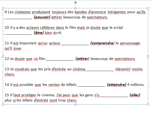 Le cinéma : sentences using the subjunctive on the topic of cinema. A and AS Level French AQA