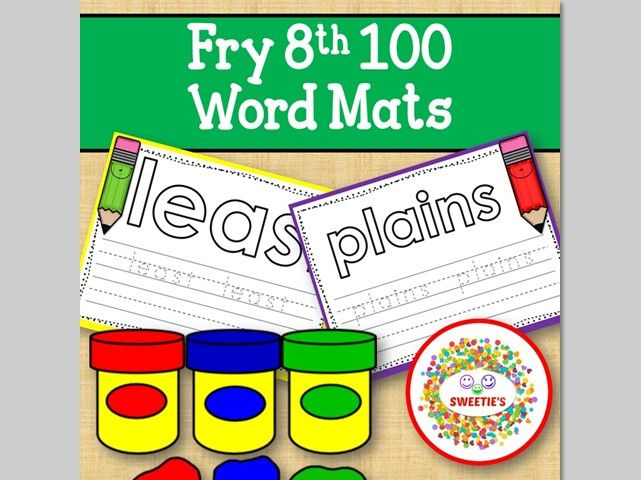 Sight Word Mats:  Fry 8th 100 Word Mats – Color