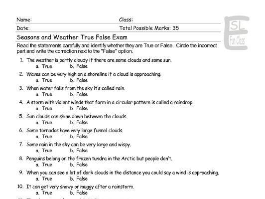 Seasons-Weather True False Exam