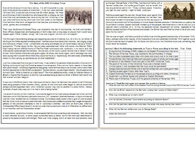 The Story of the WWI Christmas Truce -  Informational Text / Reading Comprehension