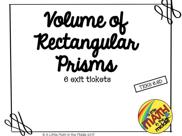 Volume of Rectangular Prisms Exit Tickets