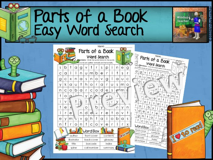 Parts of a Book Word Search  - Easy