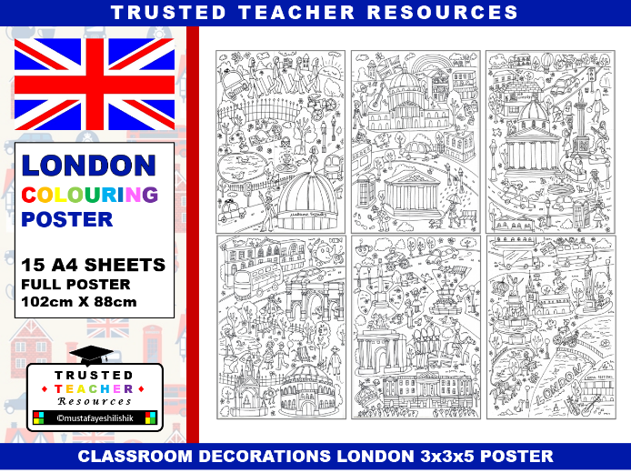 Classroom Decorations - London Colouring Poster