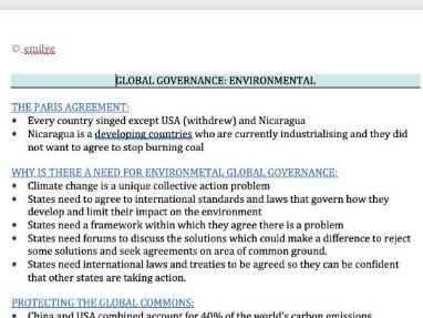 Global Governance Environmental - Edexcel Politics A- Level 9PL0