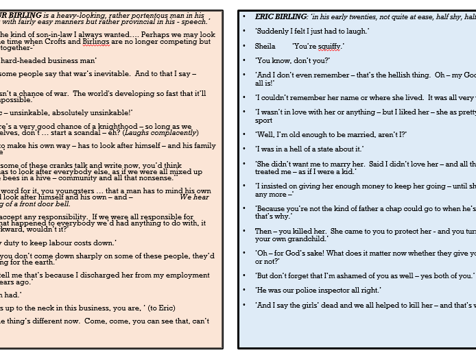 An Inspector Calls Revision - Key Quotations Bank