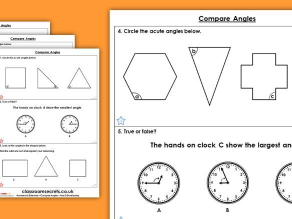 Year 3 Compare Angles Summer Block 3 Maths Homework Extension