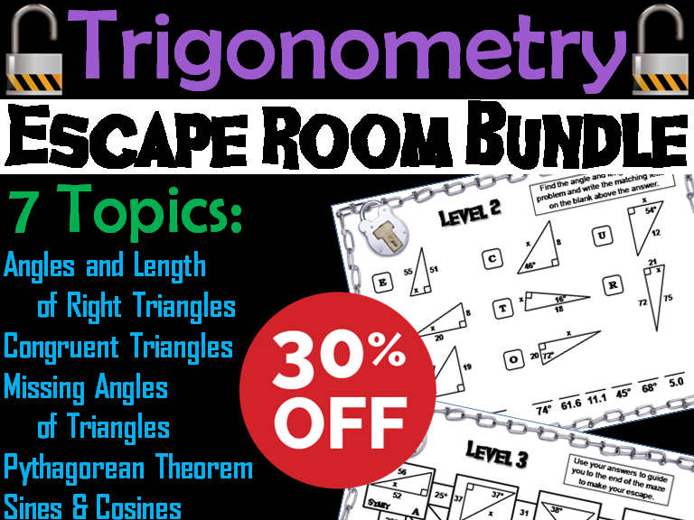 Trigonometry Escape Room Math Bundle