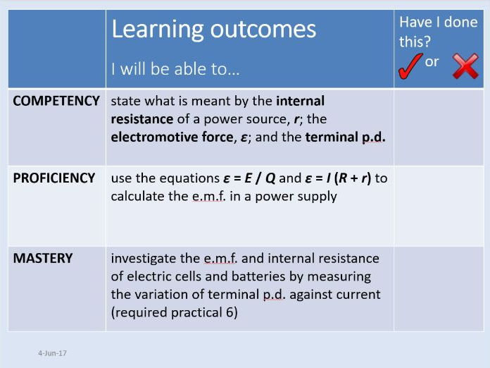 New AQA AS Physics Unit 5 Electricity - 5.1.6 Emf and internal resistance (Incl. required practical)