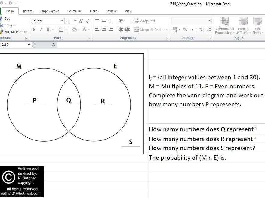 Practice Using a Venn Diagram Interactive Spreadsheet