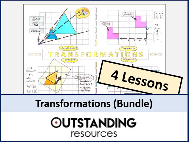 Transformations (Rotation, Reflection, Translation and Enlargement) Bundle - 4 or 5 Lessons