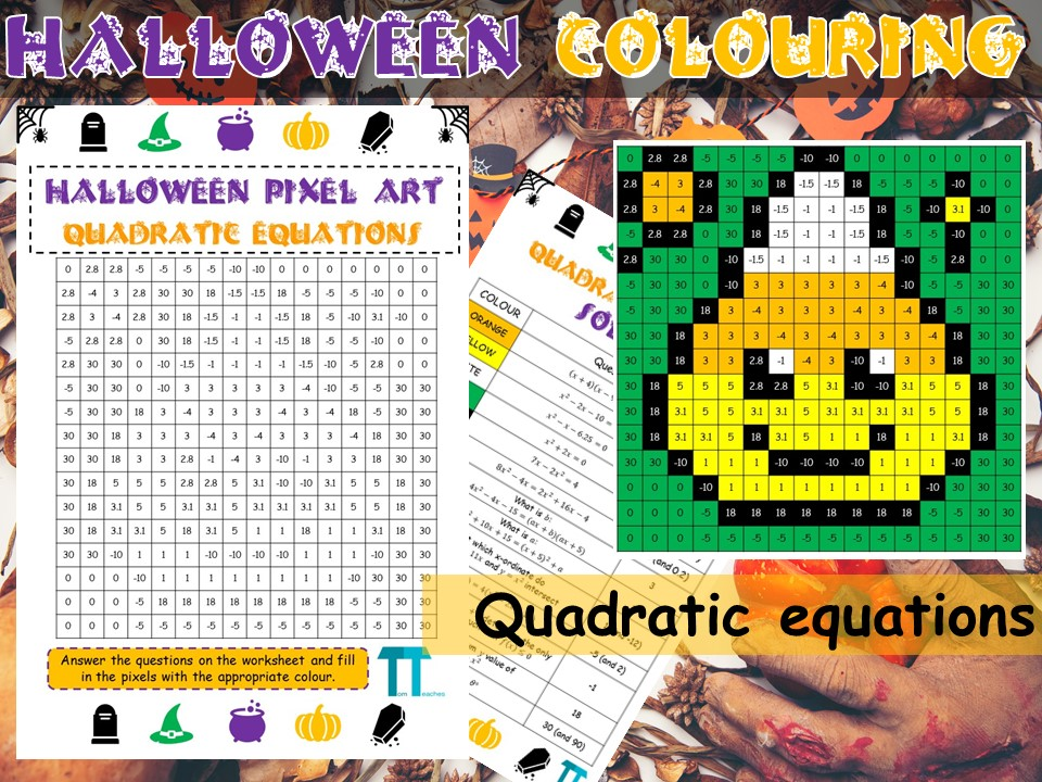 Halloween maths GCSE revision on quadratic equations