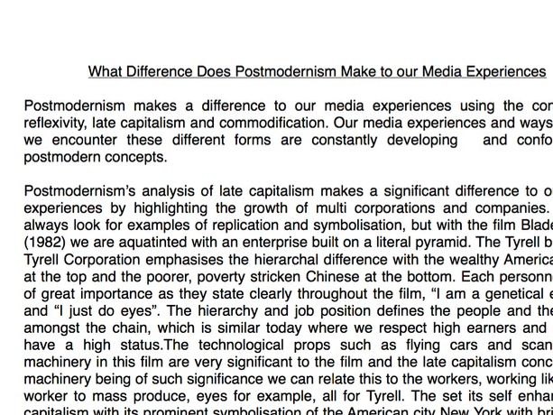 What Difference Does Postmodernism Make to our Media Experiences