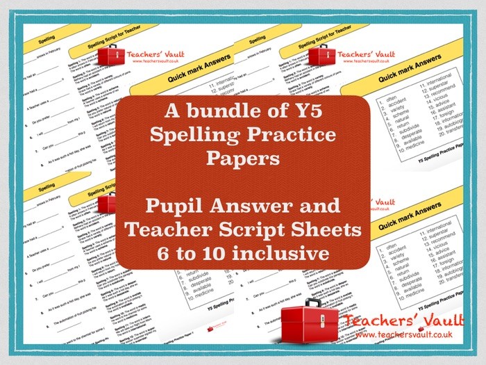 Y5 Spelling Practice Papers Bundle 2 - Papers 6 to 10