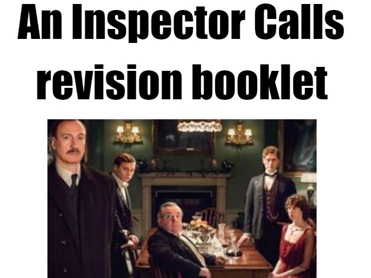 AQA  Inspector Calls 2019 revision booklet 9-1 SPEC