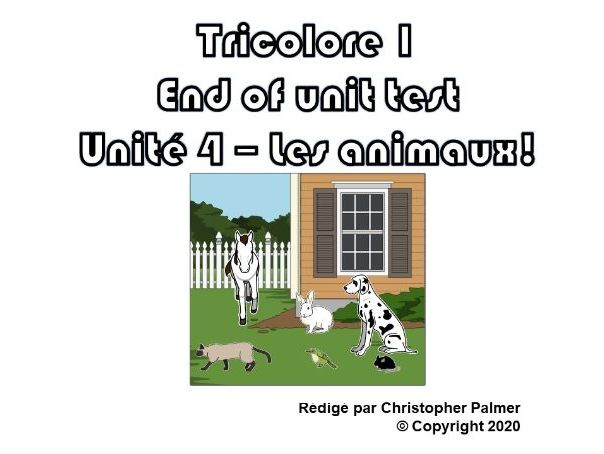 French: Tricolore 1 (5th edition) - Unit 4 end of unit test paper