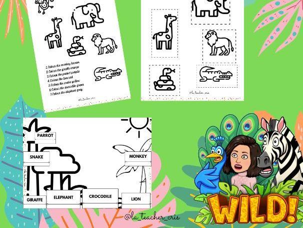 Jungle animals activity pack