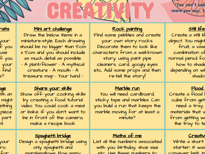 Creativity Home Learning Grid
